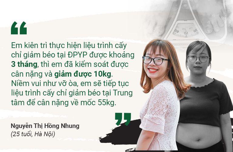 BN Hồng Nhung chia sẻ về biện pháp cấy chỉ giảm béo tại Đông phương Y pháp