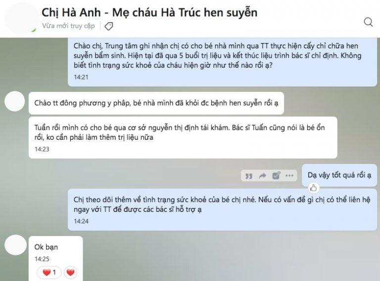 Chị Hà Anh cũng gửi tin nhắn cảm ơn về cho Trung tâm Đông phương Y pháp