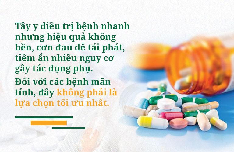 Thuốc Tây giúp giảm nhanh triệu chứng nhưng chứa nhiều tác dụng phụ và nguy cơ tái phát cao