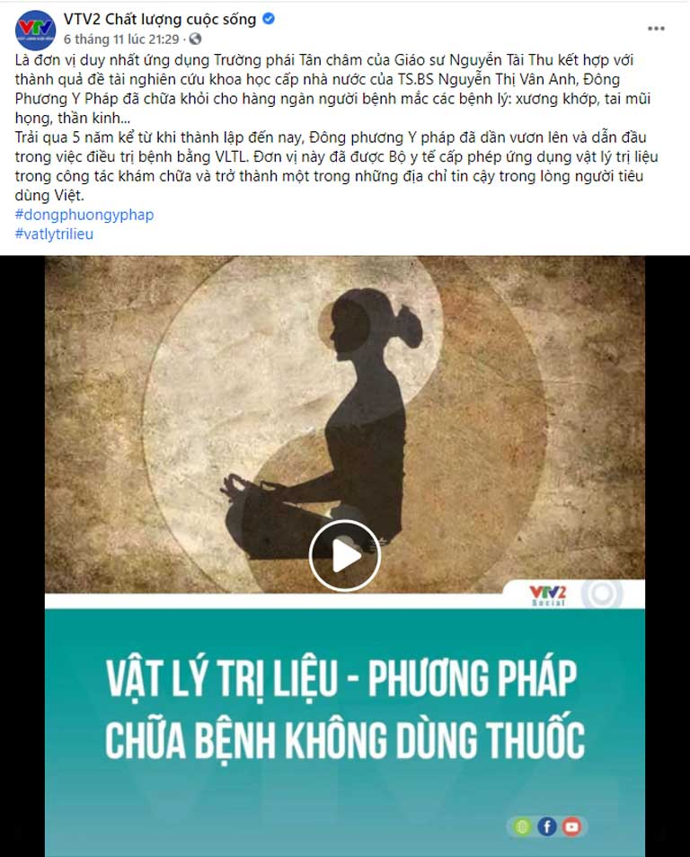 Bài đăng VTV2 giới thiệu Đông phương Y pháp trên fanpage