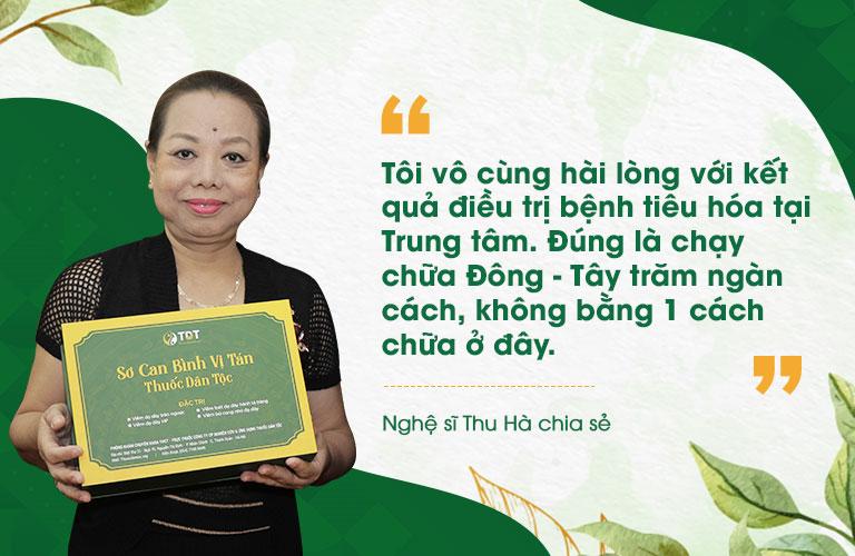 Nghệ sĩ Thu Hà bày tỏ sự hài lòng về liệu trình trị liệu tại Trung tâm