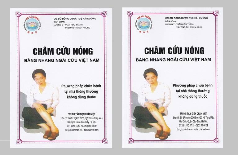 Trang bìa sách châm cứu nóng bằng nhang ngải cứu Việt Nam