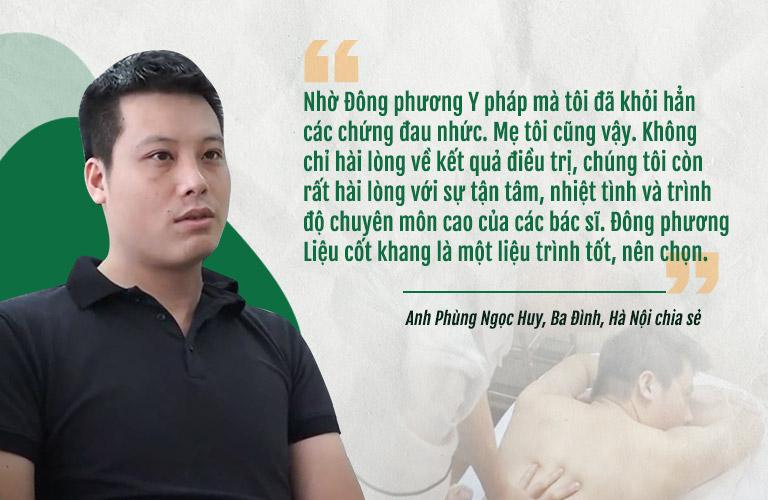 Anh Phùng Ngọc Huy và chia sẻ về liệu trình Quy trình 3 giai đoạn Đông phương Liệu cốt khang chữa đau vai gáy đau lưng